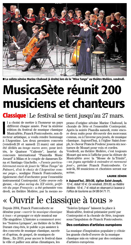 Marine Chaboud chanteuse lyrique - article de presse